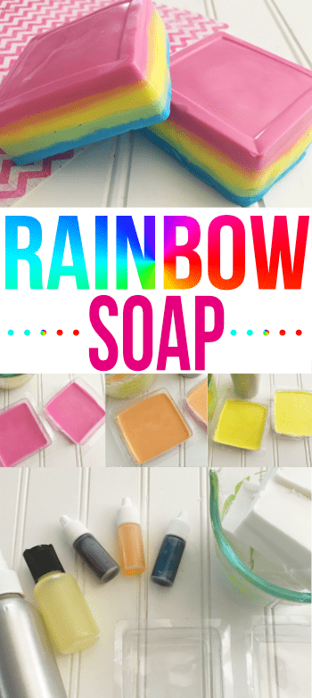 If you want to have Lush-type soaps but made at home, this rainbow soap recipe is for you!