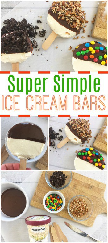 These Ice Cream bars are about the easiest kind you can make yourself! Get the kids involved for this tasty treat!