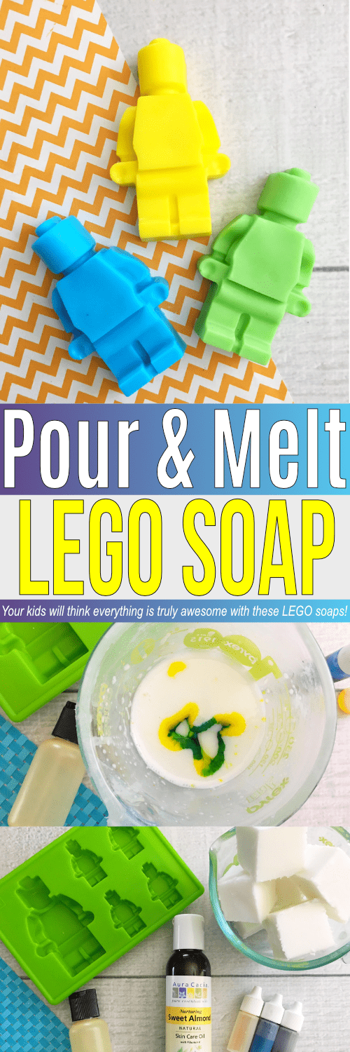 Do you have a LEGO fan in the house? Make these pour and melt soaps with a LEGO mold and they are guaranteed to enjoy hand washing time!