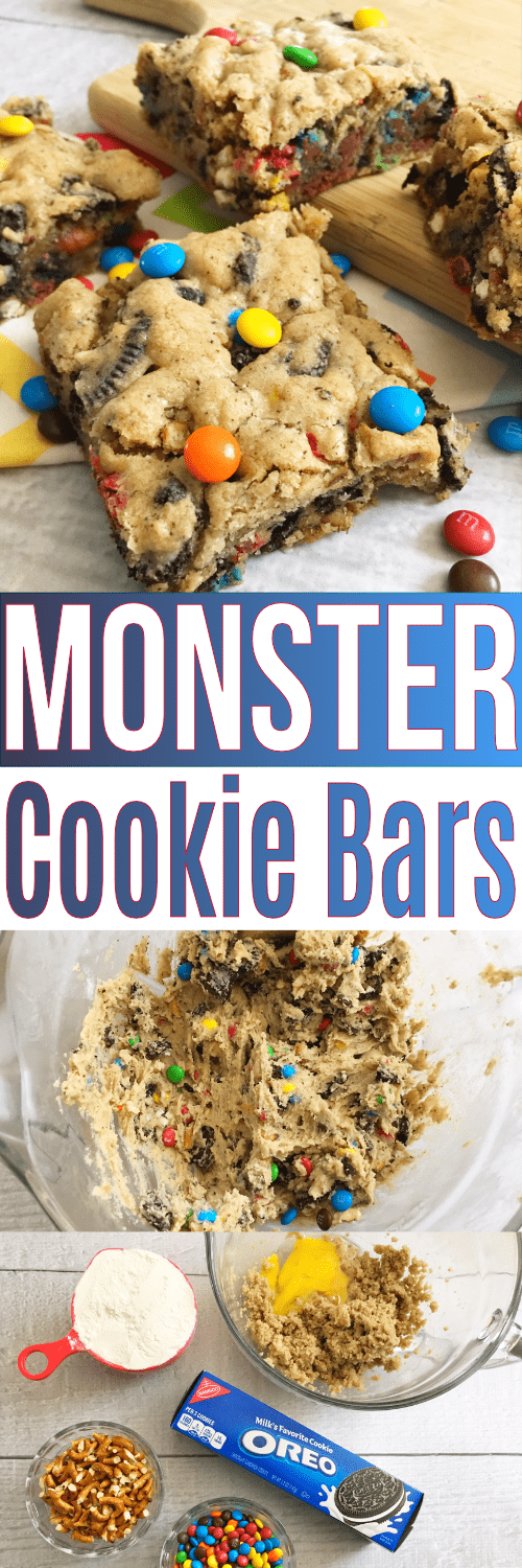 This Monster Cookie Recipe will make your little cookie monsters happy!! Make cookie bars for faster prep and easier cleanup!