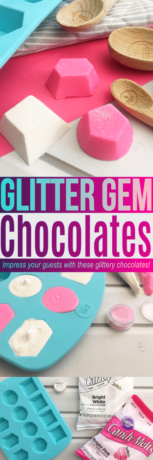 These chocolates are shaped like gems and sprinkle with glitter! Such a fun treat for a bridal or baby shower, or even a festive Christmas treat for guests.